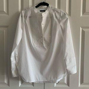 {J. Crew} tuxedo blouse white popover EUC size 4